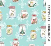 seamless pattern with christmas ... | Shutterstock . vector #514421593