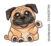 pug puppy sits and waves a paw. ... | Shutterstock .eps vector #514429744