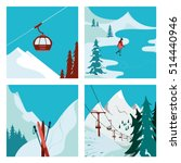 ski resort. ski lift in the... | Shutterstock .eps vector #514440946