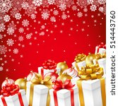 christmas gift boxes with gold  ... | Shutterstock .eps vector #514443760