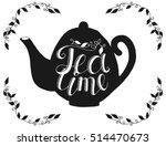 hand drawn black teapot... | Shutterstock .eps vector #514470673