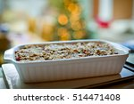 nut roast in a baking dish with ... | Shutterstock . vector #514471408