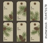 christmas gift tags with pine... | Shutterstock .eps vector #514473178