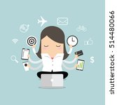 businesswoman with multitasking ... | Shutterstock .eps vector #514480066