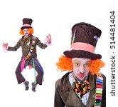 Small photo of Collage of two portraits, isolated: The insane funny Hatter. A man with curly red hair dressed in a velour brown frock coat, cylinder hat and the bow tie grimacing and is playing the fool
