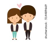 couple dressed eighties style... | Shutterstock .eps vector #514489669