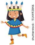 little girl dressed as native...   Shutterstock .eps vector #514492846