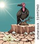 vulture standing on desert... | Shutterstock .eps vector #514492960
