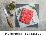 Minced Meat On Paper And Slate...