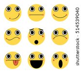 set of emoticons. emoji. yellow ... | Shutterstock .eps vector #514539040