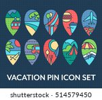 bright set of vacation pin... | Shutterstock .eps vector #514579450