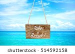 take a break on wooden hanging... | Shutterstock . vector #514592158