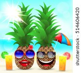 summer vacation two pineapples... | Shutterstock .eps vector #514606420