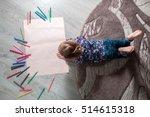 little girl painting  drawing.... | Shutterstock . vector #514615318