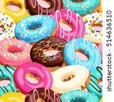 glazed donuts seamless | Shutterstock .eps vector #514636510