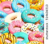 glazed donuts seamless | Shutterstock .eps vector #514636513