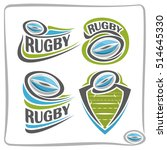 vector abstract logo rugby ball ... | Shutterstock .eps vector #514645330
