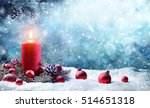 advent candle with fir branches ... | Shutterstock . vector #514651318