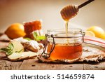 honey in jar with honey dipper  ... | Shutterstock . vector #514659874