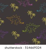seamless pattern with funny... | Shutterstock .eps vector #514669324