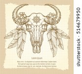 hand drawn buffalo skull with... | Shutterstock .eps vector #514679950