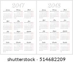 simple calendar for 2017 and... | Shutterstock .eps vector #514682209