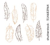 graphic beige and brown feather ...   Shutterstock .eps vector #514683964