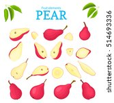 vector set of red fruits. pear...   Shutterstock .eps vector #514693336
