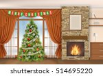christmas interior with... | Shutterstock .eps vector #514695220