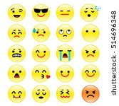 vector icons of smiley faces... | Shutterstock .eps vector #514696348