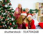 happy girls in red hats... | Shutterstock . vector #514704268