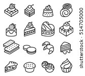 cake  dessert   bakery icon set ... | Shutterstock .eps vector #514705000
