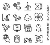 technology icon set in thin... | Shutterstock .eps vector #514705384
