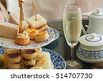 Stock photo luxury afternoon tea with a sparkling wine 514707730