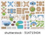 Isolated Vector Illustration. Outdoor furniture for landscape design (top view).   | Shutterstock vector #514715434