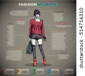 fashion infographic with model... | Shutterstock .eps vector #514716310