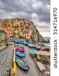 Manarola fishing village, seascape in Five lands, Cinque Terre National Park, Liguria, Italy. - stock photo