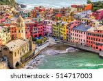 Vernazza fishing village, seascape in Five lands, Cinque Terre National Park, Liguria, Italy. - stock photo