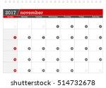 november 2017 planning calendar   Shutterstock .eps vector #514732678