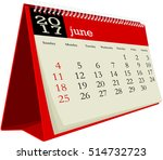desk calendar 2017 june | Shutterstock .eps vector #514732723