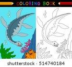 cartoon plesiosaurus coloring... | Shutterstock .eps vector #514740184