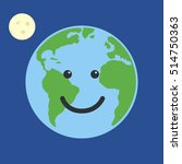 earth globe happy. isolated on... | Shutterstock .eps vector #514750363