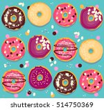 donuts collection cheerful... | Shutterstock .eps vector #514750369
