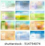 2017 calendar. blurred... | Shutterstock .eps vector #514754074