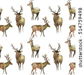 watercolor deer. watercolor... | Shutterstock . vector #514759498