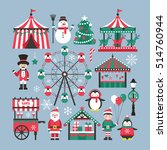 christmas market and holiday... | Shutterstock .eps vector #514760944