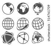 globe earth icons set.... | Shutterstock . vector #514761709