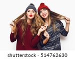 two  cheerful young friends in... | Shutterstock . vector #514762630