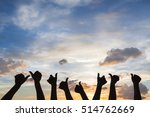 Silhouette Of Many People With...