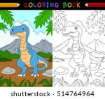cartoon tyrannosaurus coloring... | Shutterstock .eps vector #514764964